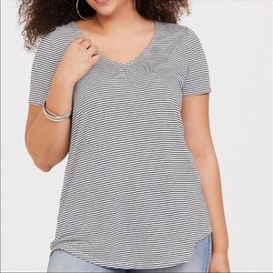 Torrid Black & White Stripe V neck Tee